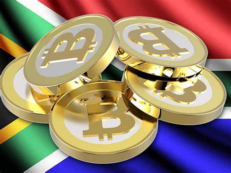 Bitcoins are illustrated as physical coins with South Africa's national flag on the background