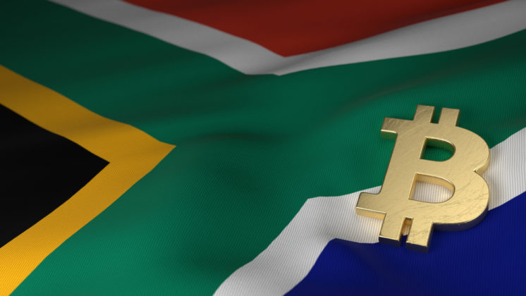 Bitcoin (BTC) logo is illustrated in 3D with gold material, laying on the national flag of South Africa