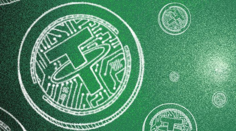 The logo of USDT (Tether) is illustrated on a green background