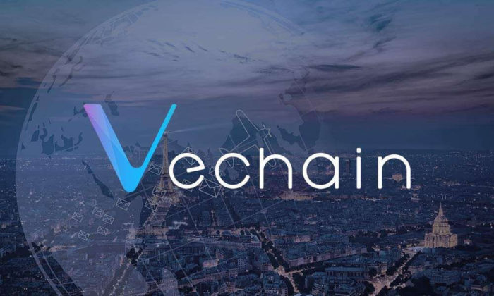 The logo of VeChain with transparent Earth and a city on the background